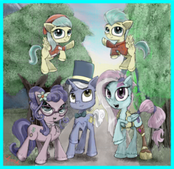Size: 2000x1946 | Tagged: safe, artist:chopsticks, barley barrel, kerfuffle, petunia petals, pickle barrel, sunny skies, earth pony, pegasus, pony, unicorn, rainbow roadtrip, amputee, barrel twins, bow, brother and sister, clothes, colt, cute, female, filly, flying, foal, glasses, hat, illusion, male, mare, prosthetic limb, prosthetics, siblings, stallion, top hat, twins