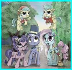Size: 2000x1946 | Tagged: safe, artist:chopsticks, barley barrel, kerfuffle, petunia petals, pickle barrel, sunny skies, earth pony, pegasus, pony, unicorn, rainbow roadtrip, spoiler:rainbow roadtrip, bow, clothes, colt, female, filly, flying, foal, glasses, hat, illusion, male, mare, stallion, top hat, twins