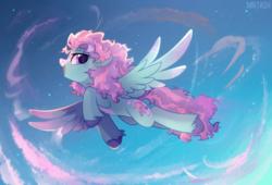 Size: 2425x1649 | Tagged: safe, artist:mirtash, oc, oc only, oc:sugar star, pegasus, pony, blaze (coat marking), flying, pale belly, solo, unshorn fetlocks, ych result