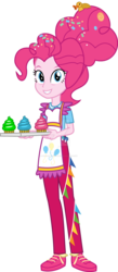 Size: 589x1356 | Tagged: safe, artist:sketchmcreations, pinkie pie, equestria girls, the last problem, spoiler:s09e26, apron, clothes, commission, confetti, cupcake, deviantart watermark, equestria girls interpretation, female, food, looking at you, obtrusive watermark, older, older pinkie pie, rubber duck, scene interpretation, simple background, smiling, transparent background, vector, watermark