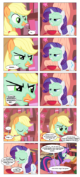 Size: 868x1928 | Tagged: safe, artist:dziadek1990, edit, edited screencap, screencap, applejack, rarity, twilight sparkle, comic:sunny day, look before you sleep, book, comic, conversation, dialogue, dungeons and dragons, golden oaks library, in character, library, mud mask, pen and paper rpg, rpg, screencap comic, slice of life, table, tabletop game, text
