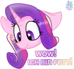 Size: 919x861 | Tagged: alicorn, alternate hairstyle, amazed, artist:rainbow eevee, chin, cute, double chin, fat, female, german, implied weight gain, pony, princess cadance, princess decadence, safe, simple background, solo, sticker, transparent background