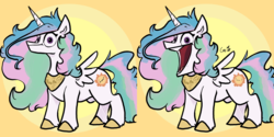 Size: 4096x2048 | Tagged: safe, artist:greyscaleart, princess celestia, alicorn, eel, fish, moray eel, pony, my little pony: pony life, :d, :t, aaaaaaaaaa, abstract background, big mouth, colored hooves, cursed image, female, giant mouth, looking at you, majestic as fuck, mare, mouth, open mouth, smiling, solo, spread wings, wat, wide eyes, wings