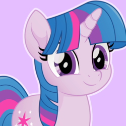 Size: 500x500 | Tagged: safe, artist:reapir, twilight sparkle, pony, unicorn, my little pony: the movie, cute, faic, female, looking at you, mare, movie accurate, smiling, smirk, solo, twiabetes, twiface, unicorn twilight