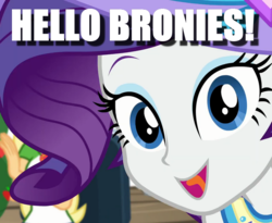 Size: 820x674 | Tagged: breaking the fourth wall, bronybait, camping must-haves, caption, cropped, cute, edit, edited screencap, equestria girls, hello, image macro, raribetes, rarity, safe, screencap, solo focus, spoiler:eqg series (season 2), talking to viewer, text