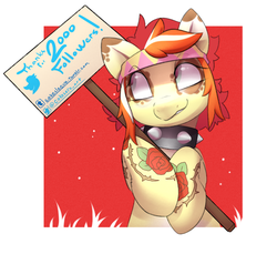 Size: 923x846 | Tagged: artist:cokesleeve, collar, earth pony, headband, meta, milestone, oc, oc:red ink, pony, safe, sign, simple background, solo, tattoo, twitter