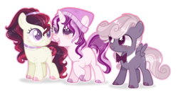 Size: 2884x1500 | Tagged: artist:6-fingers-lover, base used, bowtie, colt, earth pony, female, filly, magical lesbian spawn, male, oc, oc:black berry, oc:edgar, oc only, oc:winnie honey, offspring, parent:apple bloom, parent:rumble, parent:scootaloo, parents:rumbloom, parents:scootabelle, parent:sweetie belle, pegasus, pony, safe, simple background, transparent background, unicorn