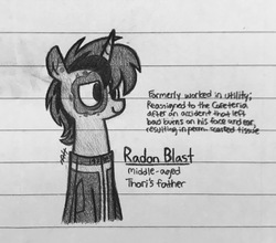 Size: 2048x1802   Tagged: safe, artist:modocrisma, oc, oc only, oc:radon blast, pony, unicorn, fallout equestria, fanfic:vault 147, alternate universe, au:v147, clothes, doodle, fallout, fanfic, fanfic art, father, horn, lined paper, male, monochrome, pencil drawing, photo, scar, smiling, solo, tired, traditional art, vault suit, watermark