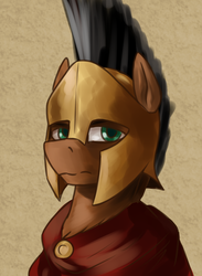 Size: 1540x2100 | Tagged: armor, artist:dukevonkessel, bust, cape, clothes, earth pony, fantasy class, greek, greek helmet, green eyes, helmet, male, oc, oc only, pony, portrait, safe, solo, spartan, stallion, warrior