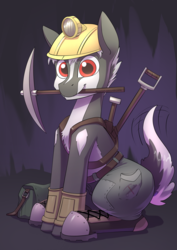 Size: 2480x3508   Tagged: safe, artist:underpable, oc, oc only, badger, earth pony, hybrid, clothes, converse, cute, cutie mark, helmet, high res, looking at you, male, mining helmet, mouth hold, pickaxe, shoes, sitting, solo