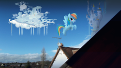 Size: 3072x1728 | Tagged: artist:bastbrushie, canterlot, cloudsdale, irl, pegasus, photo, ponies in real life, pony, rainbow dash, safe