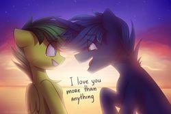 Size: 1024x683   Tagged: safe, artist:starlyflygallery, oc, oc only, oc:aura skye, oc:evergreen feathersong, pegasus, pony, unicorn, crying, cute, everskye, female, i love you, male, mare, oc x oc, shipping, stallion, straight, sunset, tears of joy