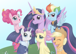 Size: 4559x3272 | Tagged: alicorn, applejack, applejack's hat, artist:flutterstormreturns, big crown thingy 2.0, cowboy hat, earth pony, end of ponies, fluttershy, flying, granny smith's scarf, group photo, hat, mane six, older, older applejack, older fluttershy, older mane 6, older mane six, older pinkie pie, older rainbow dash, older rarity, older twilight, pegasus, pinkie pie, pony, princess twilight 2.0, rainbow dash, rarity, safe, smiling, spoiler:s09e26, the last problem, twilight sparkle, twilight sparkle (alicorn), unicorn