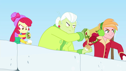 Size: 1920x1080 | Tagged: safe, screencap, apple bloom, big macintosh, granny smith, equestria girls, equestria girls series, holidays unwrapped, saving pinkie's pie, spoiler:eqg series (season 2), apple bloom's bow, apple cider, bow, brother and sister, clothes, earmuffs, female, hair bow, jacket, male, outdoors, siblings, sisters, snow, snow fort, snowball, snowball fight, winter hat, winter jacket, winter outfit