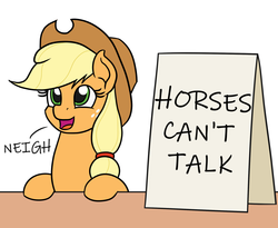 Size: 1100x900 | Tagged: applejack, applejack's hat, applejack's sign, artist:mkogwheel edits, cowboy hat, cute, earth pony, edit, female, hat, horse noises, horses doing horse things, mare, meme, neigh, pony, reality ensues, safe, sign, solo, subverted meme, truth
