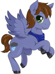 Size: 855x1163 | Tagged: 2020 community collab, artist:t72b, derpibooru community collaboration, derpibooru exclusive, male, neckerchief, oc, oc:pat thundersnow, pegasus, pony, rearing, safe, simple background, smiling, solo, stallion, transparent background