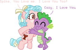 Size: 393x259 | Tagged: a better ending for cozy, adorable face, artist:drypony198, cozy glow, cozyspike, cute, daaaaaaaaaaaw, dragon, eyes closed, female, filly, funny, hug, male, pegasus, pony, safe, shipping, spikabetes, spike, straight