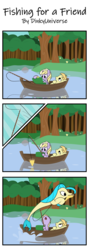 Size: 1300x3640 | Tagged: artist:dinkyuniverse, boat, catching, cheese pizza, comic, dinky hooves, earth pony, female, filly, fishing, fishing rod, foal, food, funny, my little pony: the movie, noi, pizza, pony, princess skystar, relaxed, safe, seapony (g4), sleepy, surprised, tired, unicorn, water