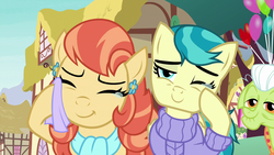 Size: 1280x720 | Tagged: safe, screencap, aunt holiday, auntie lofty, granny smith, pony, the last crusade, spoiler:s09e12, crying