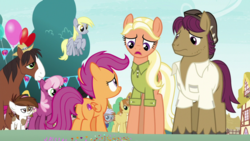 Size: 1920x1080 | Tagged: safe, screencap, cheerilee, chipcutter, feather bangs, mane allgood, pipsqueak, scootaloo, snap shutter, trouble shoes, pony, the last crusade, spoiler:s09e12