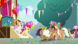 Size: 1920x1080 | Tagged: apple bloom, cheerilee, cutie mark crusaders, hug, liza doolots, mane allgood, petunia, pipsqueak, safe, scootaloo, screencap, snails, snap shutter, snips, spoiler:s09e12, sweetie belle, the last crusade, tootsie flute