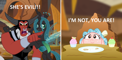 Size: 1920x953 | Tagged: safe, artist:aleximusprime, artist:mlp-silver-quill, edit, cozy glow, lord tirek, queen chrysalis, centaur, changeling, changeling queen, pegasus, pony, angry, behaving like a cat, black sclera, cookie, cozybetes, cupcake, cute, cutealis, evil lair, fangs, female, filly, floppy ears, food, frown, glare, grogar's lair, group, lair, legion of doom, lidded eyes, male, meme, meme parody, open mouth, plate, pointing, ponified meme, scared, she's evil, table, tirek yelling at cozy glow, villain teamup, wide eyes, woman yelling at a cat, yelling