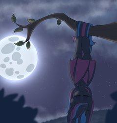 Size: 2328x2432   Tagged: safe, artist:puetsua, oc, oc only, oc:neon darksky, bat pony, pony, bat pony oc, eyes closed, female, full moon, hanging, mare, moon, night, prehensile tail, sleeping, smiling, solo, tree, tree branch, upside down