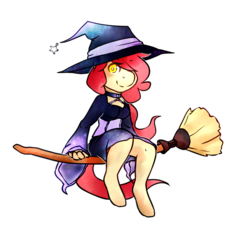 Size: 1065x971   Tagged: safe, artist:pomrawr, oc, oc only, anthro, earth pony, unguligrade anthro, broom, clothes, flying, flying broomstick, hair over one eye, hat, jewelry, necklace, simple background, solo, transparent background, witch, witch hat