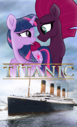 Size: 2455x4000 | Tagged: alicorn, artist:ejlightning007arts, broken horn, female, horn, lesbian, looking at each other, poster, safe, ship, shipping, tempestlight, tempest shadow, this will end in death, titanic, twilight sparkle, twilight sparkle (alicorn), unicorn