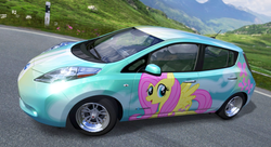 Size: 1079x589 | Tagged: safe, artist:nrxia, fluttershy, pegasus, pony, car, female, forza motorsport 4, game screencap, mare, nissan, nissan leaf, video game