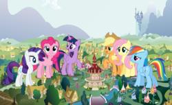 Size: 2341x1432 | Tagged: safe, applejack, bon bon, cheerilee, derpy hooves, dj pon-3, doctor whooves, fluttershy, lemon hearts, lyra heartstrings, minuette, pinkie pie, rainbow dash, rarity, roseluck, sweetie drops, time turner, twilight sparkle, twinkleshine, vinyl scratch, alicorn, earth pony, pegasus, pony, unicorn, butt, female, giant pony, giantess, macro, mane six, plot, ponyville, raised hoof, town hall, twilight sparkle (alicorn)