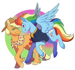 Size: 400x373   Tagged: safe, artist:angrysnakes, applejack, rainbow dash, earth pony, pegasus, pony, the last problem, abstract background, appledash, clothes, colored hooves, cowboy hat, female, granny smith's shawl, happy, hat, lesbian, looking at each other, older, older applejack, older rainbow dash, scarf, shipping, unshorn fetlocks