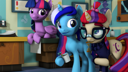 Size: 3840x2160 | Tagged: 3d, alicorn, artist:bastbrushie, artist:vbastv, clothes, cup, dentist, earth pony, embarrassed, female, glasses, mare, minuette, moondancer, office, pony, prone, raised hoof, room, safe, smiling, source filmmaker, trio, twilight sparkle, twilight sparkle (alicorn), unicorn