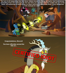 Size: 2016x2255 | Tagged: alicorn, alicornified, antagonist, beard, bell, betrayal, caption, centaur, certified idiot, changeling, changeling queen, cloven hooves, collar, comic, cozycorn, cozy glow, crown, crystal ball, discord, discord drama, draconequus, edit, edited screencap, evil lair, facial hair, female, filly, flying, grogar, grogar's bell, grogar's lair, grogar's orb, horns, image macro, jewelry, lair, lord tirek, magic, magic drain, male, meme, mucus, nervous, op is right, queen chrysalis, race swap, ram, regalia, safe, screencap, screencap comic, shackles, sheep, sheepish, slime, spoiler:s09e24, spoiler:s09e25, text, the ending of the end, ultimate chrysalis, water, wings