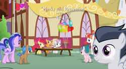 Size: 1179x647 | Tagged: apple bloom, colt, credits, cutie mark crusaders, cutie mark crusaders flag, discovery family logo, earth pony, female, filly, male, marks and recreation, minuette, mocha berry, pegasus, pony, ponyville, rainbow stars, rumble, safe, scootaloo, screencap, seafoam, sea swirl, skeedaddle, sweetie belle, tulip swirl, unicorn
