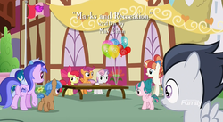 Size: 1179x647 | Tagged: apple bloom, colt, credits, cutie mark crusaders, cutie mark crusaders flag, discovery family logo, earth pony, female, filly, kettle corn, male, marks and recreation, minuette, mocha berry, pegasus, pony, ponyville, rainbow stars, rumble, safe, scootaloo, screencap, seafoam, sea swirl, skeedaddle, sweetie belle, tulip swirl, unicorn