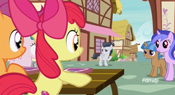 Size: 1181x643 | Tagged: safe, screencap, apple bloom, mocha berry, rumble, scootaloo, sea swirl, seafoam, tulip swirl, earth pony, pegasus, pony, unicorn, marks and recreation, colt, discovery family logo, female, filly, foal, male, mare, ponyville, waving