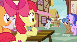 Size: 1181x647 | Tagged: safe, screencap, apple bloom, mocha berry, rumble, scootaloo, sea swirl, seafoam, tulip swirl, earth pony, pegasus, pony, unicorn, marks and recreation, colt, discovery family logo, female, filly, foal, male, mare, ponyville