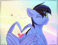 Size: 1300x1000 | Tagged: safe, artist:andyfirelife, oc, oc only, oc:jettrax, pegasus, pony, blushing, freckles, heart, heart hands, looking at you, male, one eye closed, smiling, solo, stallion, wing hands, wings, wink, ych result