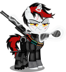 Size: 5183x5710 | Tagged: safe, artist:vector-brony, oc, oc:blackjack, pony, unicorn, fallout equestria, fallout equestria: project horizons, absurd resolution, ammunition, clothes, fanfic art, female, grim reaper, gun, horn, levitation, magic, mare, scar, simple background, small horn, solo, sunglasses, telekinesis, transparent background, weapon