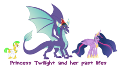 Size: 7807x4374 | Tagged: alicorn, artist:clone999, artist:crystalmagic6, artist:secret titan, big crown thingy 2.0, dragon, dragon crown, dragon lord, edit, gaius (dragon), older, older twilight, open mouth, princess twilight 2.0, reincarnation, royal guard, safe, simple background, spoiler:s09e26, spread wings, text, transparent background, twilight sparkle, twilight sparkle (alicorn), vector, vector edit, wings