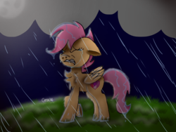 Size: 1024x768 | Tagged: artist:badimo, chest fluff, cloud, crying, cutie mark, eyes closed, female, filly, floppy ears, foal, folded wings, grass, hill, moon, night, pegasus, pony, rain, raised hoof, sad, safe, scootaloo, signature, solo, storm, the cmc's cutie marks, wet, wings