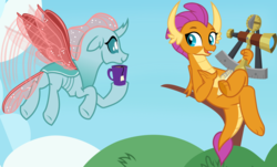Size: 1055x636   Tagged: safe, artist:frownfactory, ocellus, smolder, changedling, changeling, dragon, the last problem, .svg available, adult, all is well, butt, claws, cloud, crossed legs, cup, curved horn, dragoness, duo, fangs, female, flapping, floppy ears, flying, folded wings, food, horn, horns, i can't believe it's not hasbro studios, notepad, older, older ocellus, older smolder, plot, sextant, show accurate, sitting, smiling, spread wings, svg, tea, toes, tree, underfoot, vector, wings