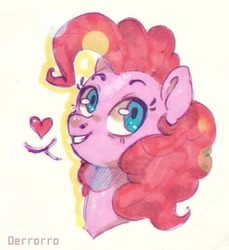 Size: 500x547 | Tagged: safe, artist:derrorro, pinkie pie, earth pony, pony, bokeh, bust, cute, diapinkes, female, heart, looking at you, mare, pictogram, portrait, simple background, smiling, solo, speech bubble, three quarter view, white background