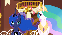 Size: 1920x1080 | Tagged: safe, screencap, princess celestia, princess luna, alicorn, pony, slice of life (episode), crown, ethereal mane, female, frown, jewelry, mare, peytral, ponyville, regalia, royal sisters, siblings, sisters, sitting, starry mane, unamused