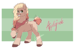 Size: 2969x2009 | Tagged: applejack, applejack (g5), artist:scalent, earth pony, g5, grin, leak, neckerchief, pony, redesign, safe, signature, simple background, smiling, solo, spoiler:g5, tail wrap