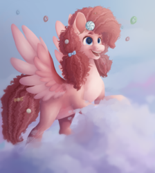 Size: 3409x3806 | Tagged: artist:scalent, balloon, candy, cloud, food, g5, leak, pegasus, pegasus pinkie pie, pinkie pie, pinkie pie (g5), pony, race swap, redesign, safe, signature, sky, smiling, solo, spoiler:g5, spread wings, wings