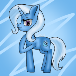 Size: 768x768 | Tagged: abstract background, artist:badimo, ear fluff, female, horn, looking at you, mare, pony, raised hoof, safe, signature, smiling, solo, standing, trixie, unicorn
