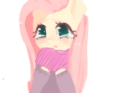 Size: 1280x960 | Tagged: safe, artist:marinakirby, fluttershy, pony, clothes, crying, cute, female, mare, open mouth, sad, sadorable, scarf, shyabetes, simple background, solo, sweater, sweatershy, white background