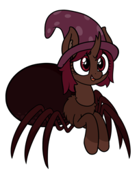 Size: 2838x3488 | Tagged: artist:czu, dungeons and dragons, hat, monster pony, oc, oc only, oc:silky strands, ogres and oubliettes, original species, safe, spider, spiderpony, strange waifu dnd, wizard hat